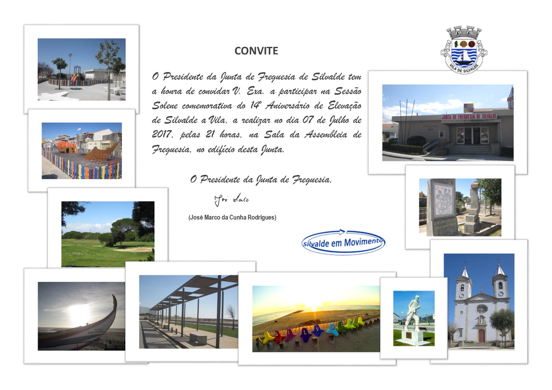 Convite - Sessão Solene 14º Aniversário da Elevação de Silvalde a Vila