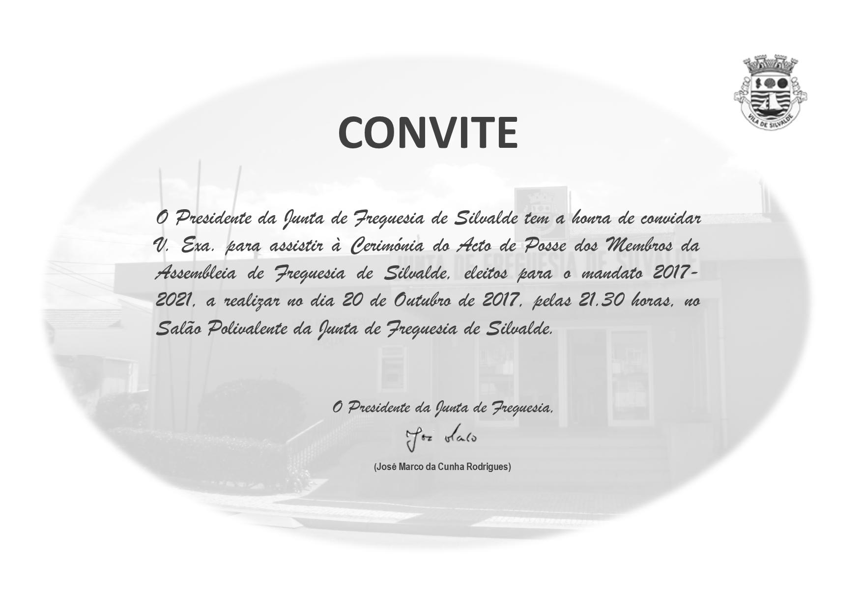 Convite - Tomada de Posse 2017-2021